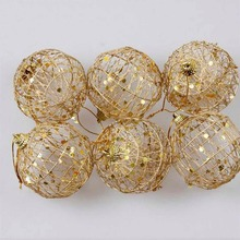6pcs/Lot XMAS Christmas Tree Hanger Decoration Gold Ball Beads Chain Hanging Ornament