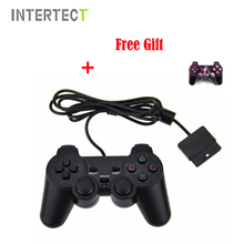 Wired For PS2 Controller Dual Vibration Joystick Gamepad Joypad For PS2 Playstation 2 Black with LOGO