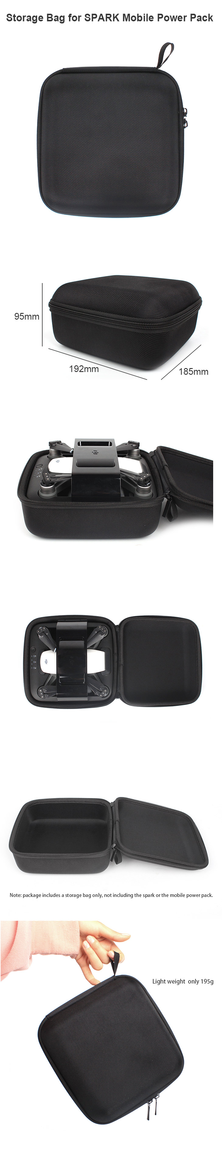 Portable Handheld Storage Bag Box Case for DJI SPARK Mobile Power Pack for DJI SPARK Camera Drone
