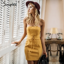 Simplee Sexy leather suede bodycon dress Women elegant tie up waistband vintage dress Party strapless autumn winter dress 2017(China)