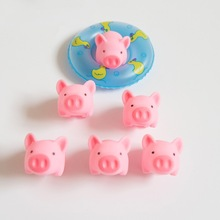 2pcs Cartoon Animals Swimming Water Soft Floating Rubber Pink Pigs Squeeze Sound Squeaky Bathing Toy For Baby Bath Toys Shower(China)