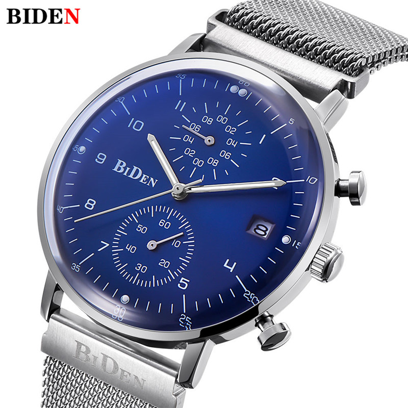 Casual Simple Stylish Mens Watch Luxury BIDEN Brand Watch Ultra Thin Dial Design Steel Mesh Strap Quartz Watch Men Clock Relogio<br>