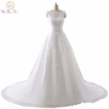 Luxury Wedding Dress Real Photo Cheap Bridal Gowns Lace Wedding Dresses Removable Skirt A-line Detachable Skirt Free Shipping(China)