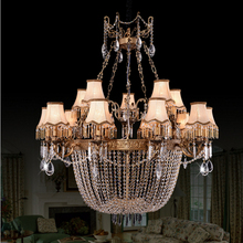 Luxury double floor living room large chandeliers European style all copper crystal chandeliers French modern engineering lamps