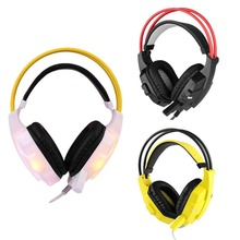 3 color 3.5mm LED MIC Headband Over Gaming Headphone Earphone For PC Laptop Tablet / PS4 / Mobile Phones cables