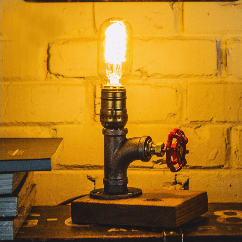 DIY Vintage Iron Light Desk Lamp Beside Water Pipes Table Lamps Office Night Lighting Can Carve Words for Marry<br>
