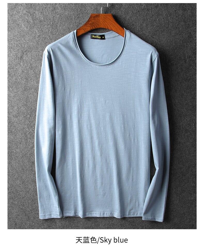 Bamboo cotton men's long sleeve t-shirt msn All Match O Neck Casual T-Shirts Base Tees spring autumn Korean bottoming shirt men (3)
