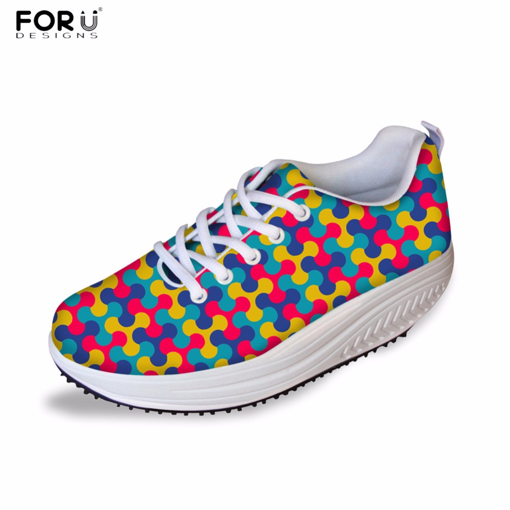 FORUDESIGNS Casual Swing Shoes Women 2017 Height Increasing Womens Fashion Sliming Shoes 3D Geometry Pattern Female Platform <br>