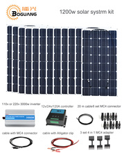 Boguang 1200w Solar System kit 100w solar panel module cell 120A controller 3000w inverter cable MC4 connector 12v power charge(China)