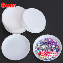 20pcs/lot Round Crystal Stone Jewelry Plate Plastic Acrylic Cosmetic Nail Art Box Case Storage Container Diy Parts Tools Y2691
