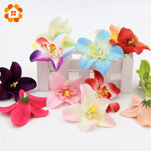20pcs/lot 7cm Silk Orchid Artificial Flower Heads For Wedding Decoration DIY Wreath Gift Scrapbooking Craft Fake Flower