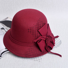 New lace big flower hat, adult female imitation wool top hat, European and American style leisure butterfly knot, bowler hat(China)