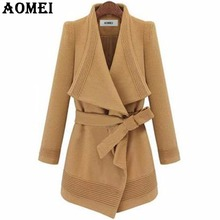 Woman Winter Wool Coats Camel Wear to Work Office Lady Clothing Fall Elegant New with Sashes Autumn Winter Irregular Overcoats(China)
