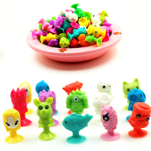 10pcs/Lot Good Cupule Kids Cartoon Animal Action Figures Toys Sucker Kids Mini Suction Cup Collector Capsule Model
