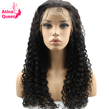 Atina Queen 180Density Glueless Lace Front Human Hair Wigs with Baby Hair for Black Women Pre Plucked Virgin Malaysian Curly Wig(China)