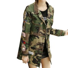 Autumn Winter American Camouflage BF Camo Jacket Military Fatigues Restoring Pockets Army Green Women Jacket With Button 9100216