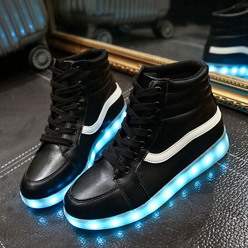 zapatos mujer emitting shoes   colorful LED lighting USB charging a couple high-top shoes a325<br><br>Aliexpress