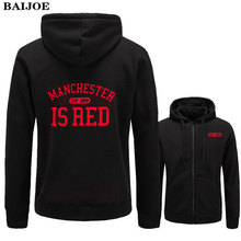 BAIJOE United Kingdom Red Letter Hoodies Men Cotton Manchester 2017 Brand Fashion Sweatshirts Casual slim fit Hoodie Jackets