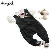 Classic Designer Baby Boy Cotton Romper Black Striped Jumpsuit Infant Red Bow Tie One Piece Formal Suit Newborn Tuxedo