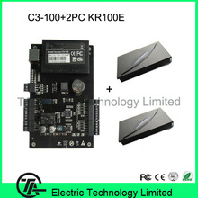 TCP/IP network single door access control panal access control board C3-100 kit with 2PCS KR100E 125KHZ RFID card reader.