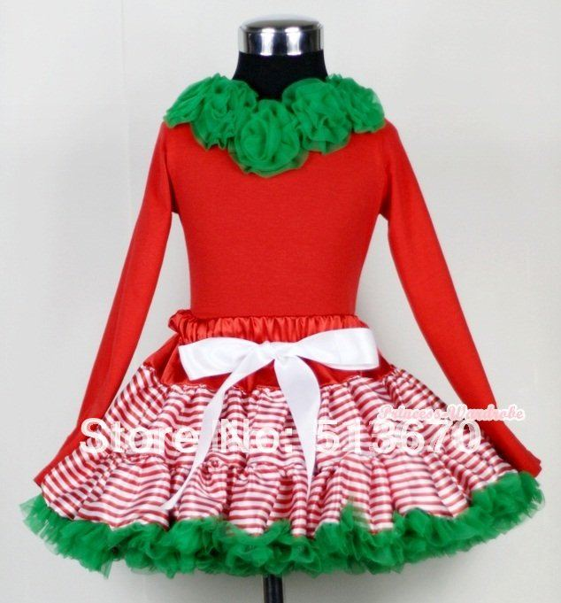 Christmas Red White Striped mix Christmas Green Pettiskirt Matching Kelly Green Rosettes Red Long Sleeves Top MAMB03<br>
