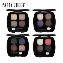 Party Queen Women 4 Colors Matte Shimmer Eyeshadow Palette High Pigment Earth Color Makeup Set Smoky Nude Eye Shadow with Brush