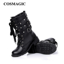 2017 New Women Buckle Winter Motorcycle Martin Boots British Style Gothic Punk Thick Warm Black Shoe Free Shipping Plus Size