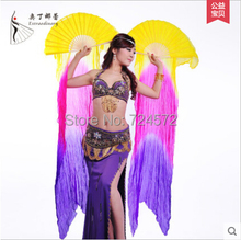 Belly dance accessories colors silk 1.8M belly dance fan for women belly dance accessories fan 1pair