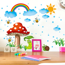 Removable Rainbow Wall Stickers Creative Mushroom Wall Art DIY Cartoon Insects Home Decor Decals for Kids Room Decoration(China)
