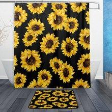 Vintage Sunflower Flower Waterproof Polyester Fabric Shower Curtain With Hooks Doormat Bath Floor Mat Bathroom Home