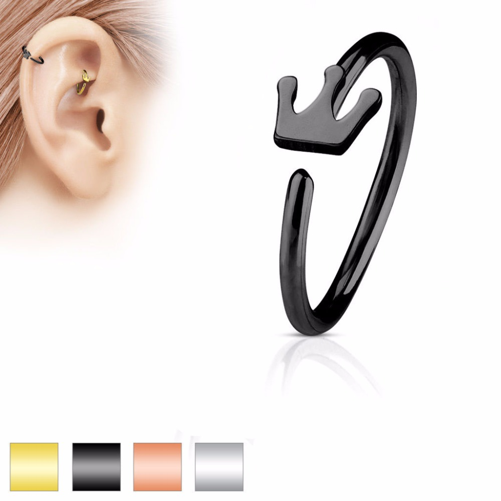 Cross Fake Nose Ring Hoop Non No Piercing Rose Gold Steel Hematite Clip On