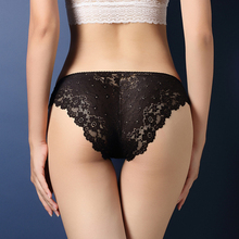 S M L Low Waist Full Lace Women Underwear Transparent Briefs Lady Panties