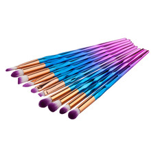 10pcs/set Rainbow Brush Cleaner Eye Make Up Brush Eyeshadow Eyebrow Eyelashes Brush for Women Beauty Cosmetics(China)