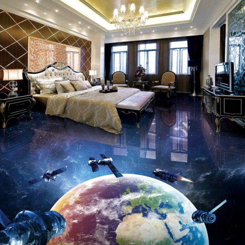 Free Shipping non-slip PVC floor sticker Earth Space Station 3D floor wallpaper kitchen office floor mural<br><br>Aliexpress