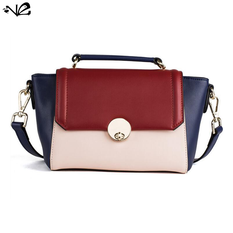 2016 Summer newly-listing fashionable woman leather contrast color trapeze bag, single shoulder bag, messenger bag HA050<br><br>Aliexpress