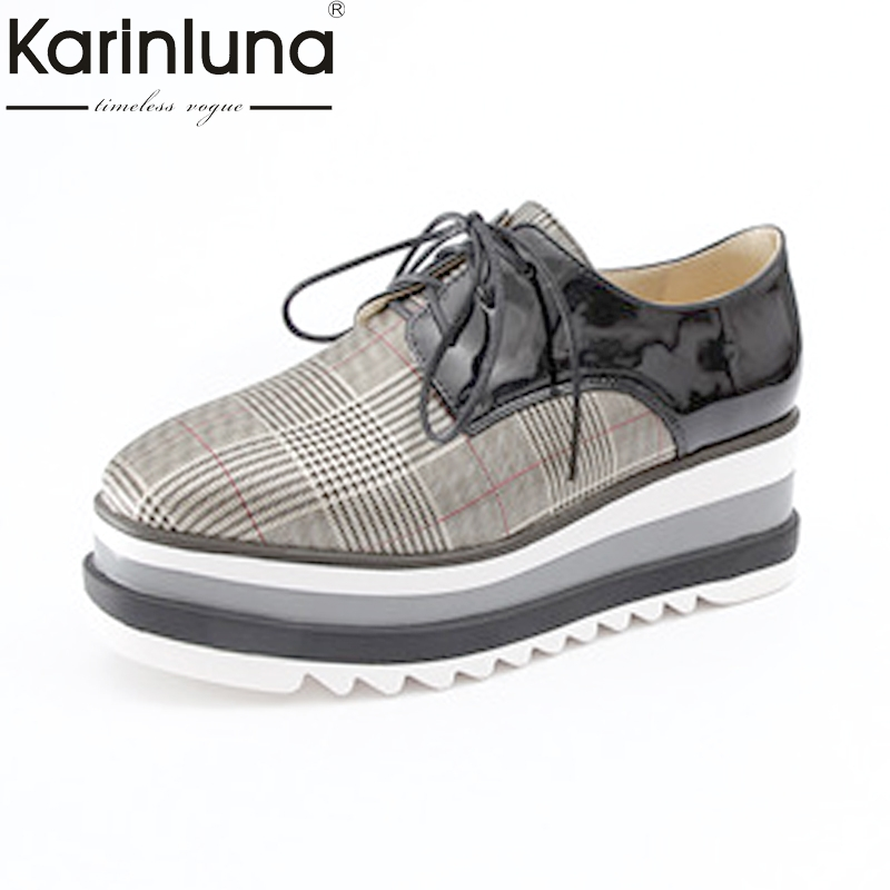 KarinLuna Womens Thick Rubber Sole Platform Lace Up Spring Autumn Casual Shoes Woman Sneaker Flats Size 33-42<br>