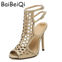 Summer Sandals Vintage Roman High Heels Women Sexy Cut Outs Slingback Ankle Buckle Sandals Stiletto Gladiator Shoes Gold & black