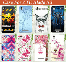Sparkle Blue Rose Flowers Style Cover For ZTE Blade X3 D2 Soft TPU Case Popular Pattern Painting Cover For ZTE X 3 Best tpu Case