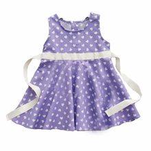 little girl dress summer style 2016 brand heart pattern baby girl dress high quality purple cute kids dresses for girls clothes(China)