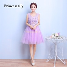Lavender Bridesmaid Dresses Short V neck Sexy Flowers Lace Vestido De Noiva Dinner Dresses For Women 2017 New Prom Party Gown