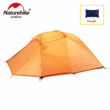 Naturehike 3 Person Camping Tent With Mat Ultralight 4Person 20D Silicone Fabric Double Layers Aluminum Rod Outdoor Tent