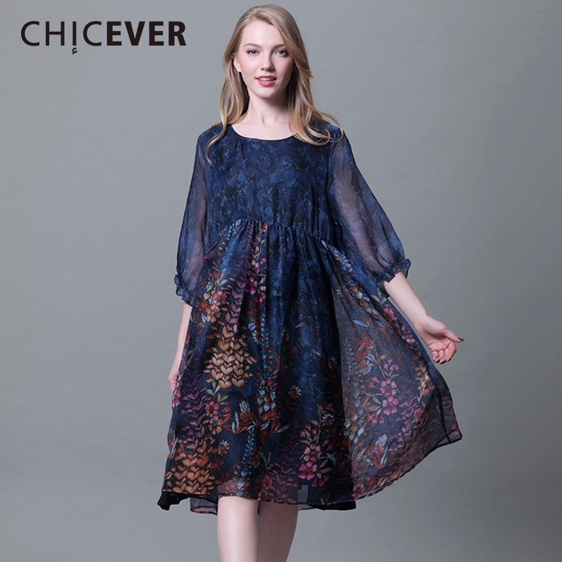 CHICEVER Vintage Chiffon Dress Female Print Half Sleeve Black Pullovers Dresses Women Big Size 2018 Spring Clothes Fashion