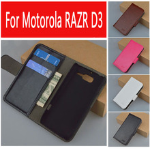 J&R Brand Luxury Flip Leather Case For Motorola RAZR D3 XT919 XT920 Phone Bag with Stand and Card Holder 9 Colors