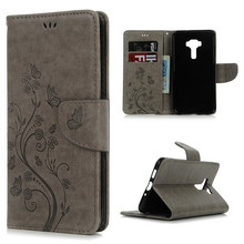 Flip Leather Cell Phone Pouch Case for ASUS ZenFone 3 (ZE552KL) 5.5 Inch Printing Flowers Butterflies Wallet Holster Shell Cover