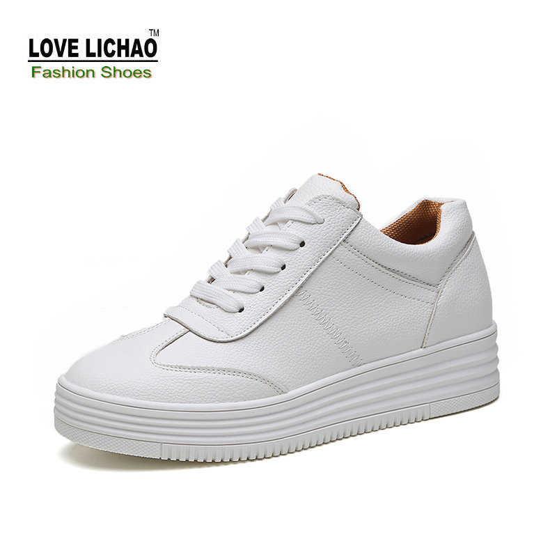 Love Lichao Fashion Lace-up Casual Shoes Women White Thick Soled Student Flat Shoes Female Oxfords Shoes Zapato Mujer Size 35-39<br><br>Aliexpress