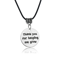 Gothic Thank You For Helping Me Grow Pendant Necklace Leather Rope Jewelry Women Men Teachers Thanksgiving Student Choker Collar(China)