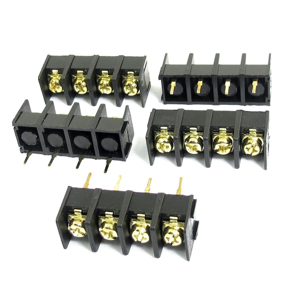 5Pcs 300V 25A 4 Pin 10Mm Spacing Single Row Pcb Board Black Screw Terminal Barrier Block Connector<br><br>Aliexpress
