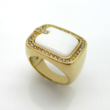 Alibaba Manufacturer China Supplier 316L Stainless Steel Plated Crystal Stone Charms Ring(China)