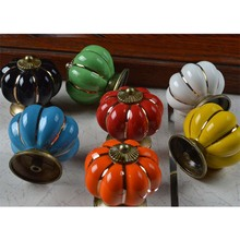 Vintage Furniture Handle Pumpkin Ceramic Door Knobs Cabinet Knobs and Handles for Furniture Drawer Cupboard Kitchen Pull Handle
