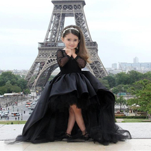 High Low Black Flower Girl Dress Pageant Gowns Long Sleeve First Communion Girls Dresses Birthday Party Gowns